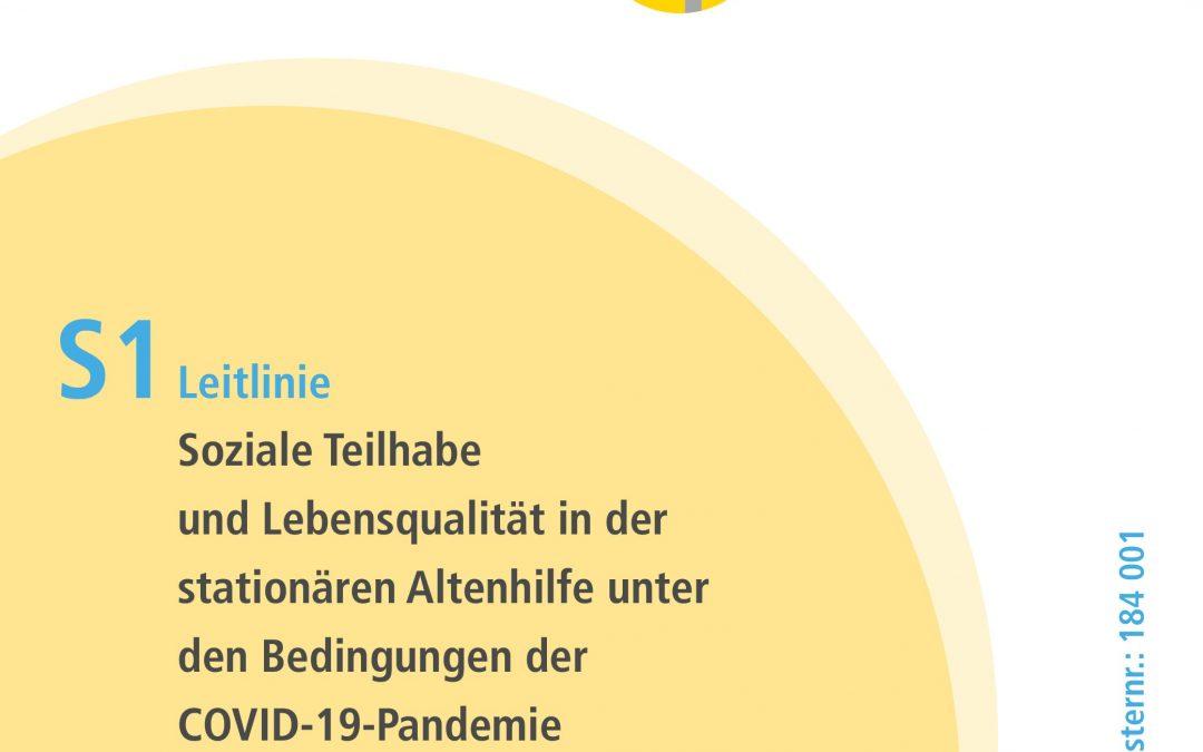 """Pressemitteilung – S1-Leitlinie """"Soziale Teilhabe und Lebensqualität in der stationären Altenhilfe unter den Bedingungen der Covid-19 Pandemie"""" veröffentlicht"""