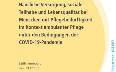 """Pressemitteilung – S1-Leitlinie """"Häusliche Versorgung, soziale Teilhabe und Lebensqualität bei Menschen mit Pflegebedürftigkeit im Kontext ambulanter Pflege unter den Bedingungen der COVID-19 Pandemie"""" veröffentlicht"""